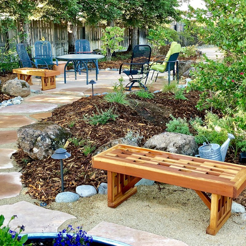 Lighthouse Garden Benches (Options: 4 ft L x 17 3/4 inches W x 17 inches H, California Redwood, No Cushion, No Engraving, Transparent Premium Sealant). Photo Courtesy of T. Bauer of Sacramento, CA.