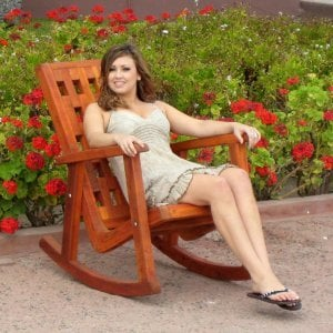 Lighthouse Rocking Chair (Options: Redwood, No Cushion, Transparent Premium Sealant). Model: Ms. Hayley Hall of Santa Rosa, CA.