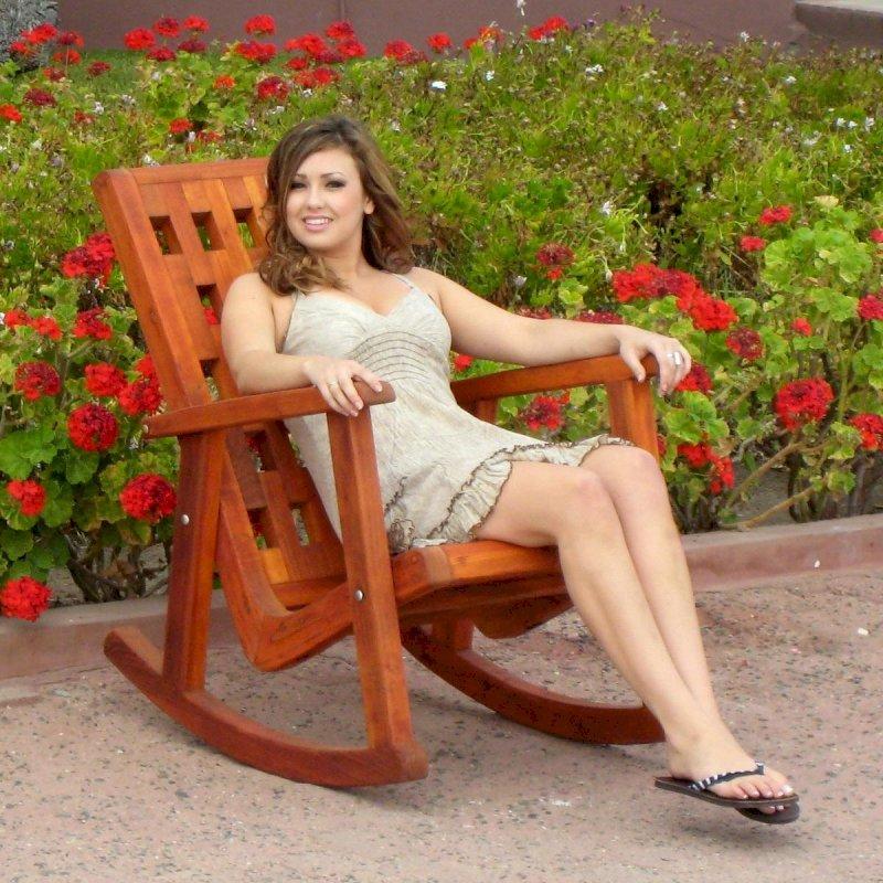 Lighthouse Rocking Chair (Options: California Redwood, No Cushion, Transparent Premium Sealant). Model: Ms. Hayley Hall of Santa Rosa, CA.