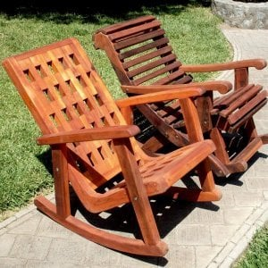 Comparison of Lighthouse (front) and Ensenada Highback Rocking Chairs (rear). Lighthouse in Redwood with Transparent Premium Sealant, Ensenada in Old-Growth Redwood with Coffee Stain.