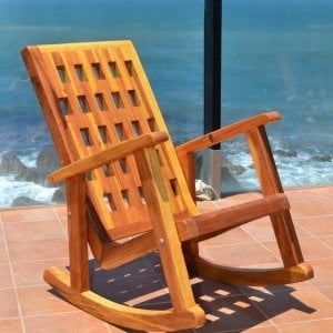 Lighthouse Rocking Chair (Options: Redwood, No Cushion, Transparent Premium Sealant).