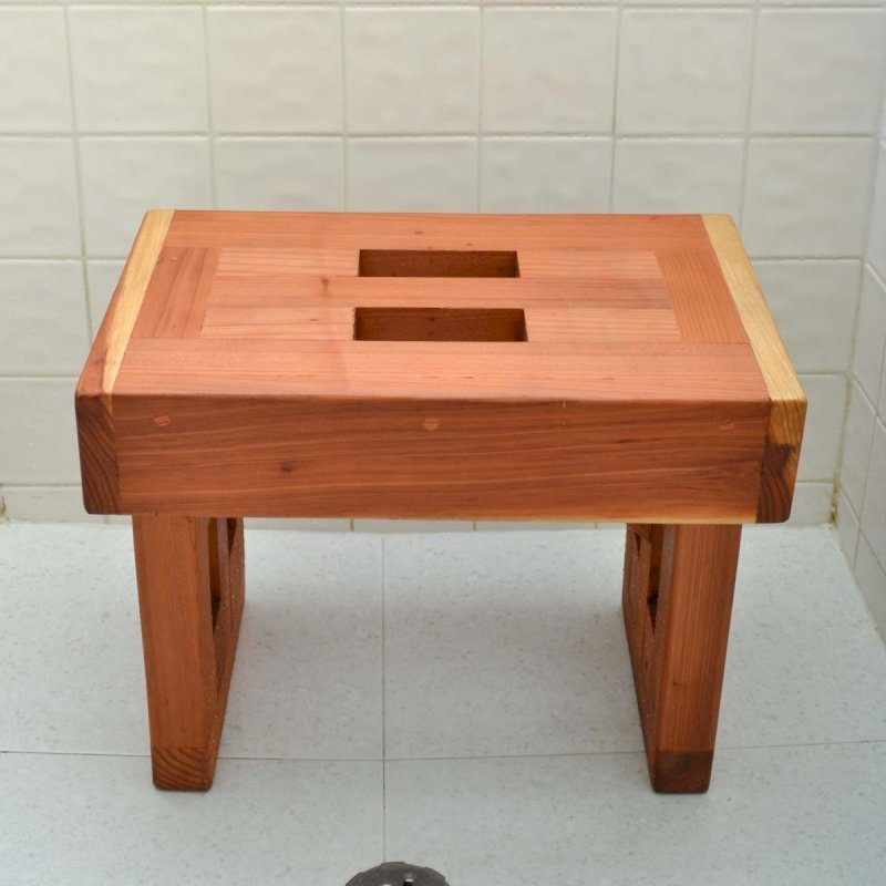 "Lighthouse Wooden Shower Bench (Options: 1 1/2 ft L x 10 3/4"" W x 14"" H, Mature Redwood, No Engraving, Transparent Premium Sealant)."