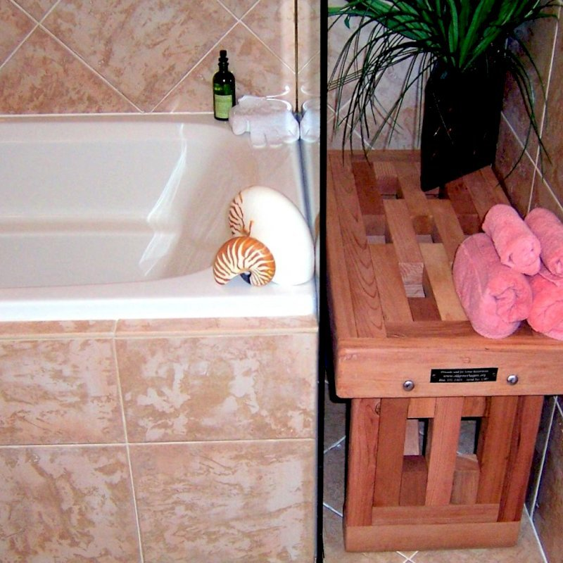 "Lighthouse Wooden Shower Bench (Options: 2 1/2 ft L x 17 3/4"" W x 17 H, Mature Redwood, No Engraving, Unfinished)."