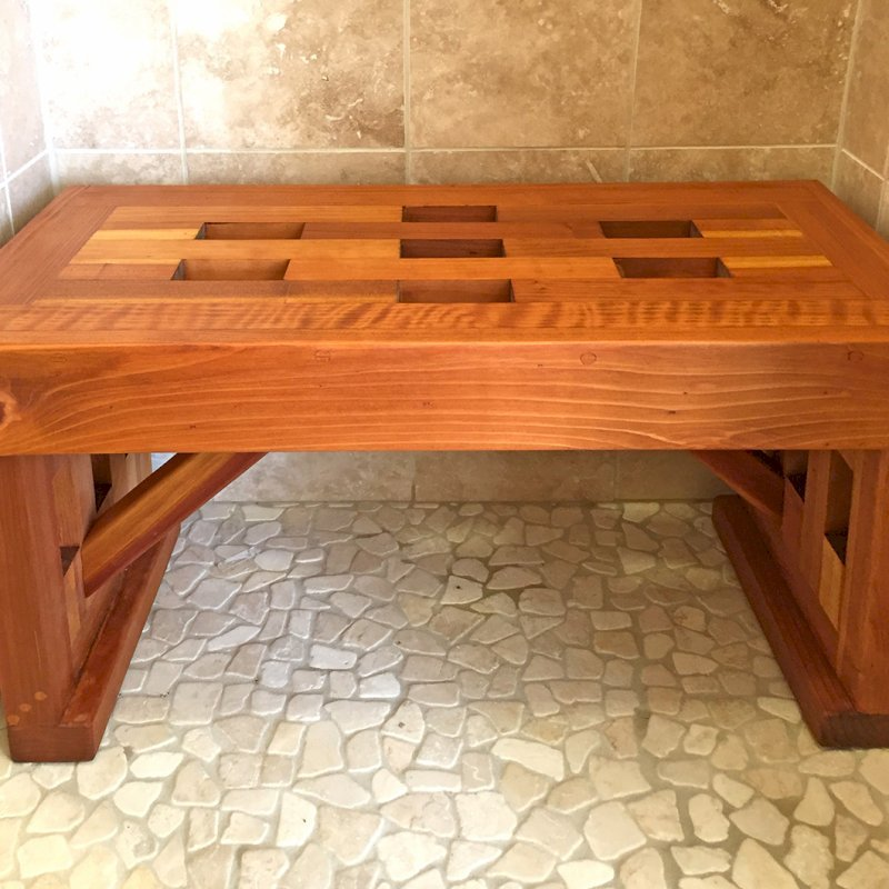 "Lighthouse Wooden Shower Bench (Options: 3 ft L x 16"" W x 17"" H, California Redwood, No Engraving, Transparent Premium Sealant). Photo Courtesy of Peter Fairchild of Oakland, CA."