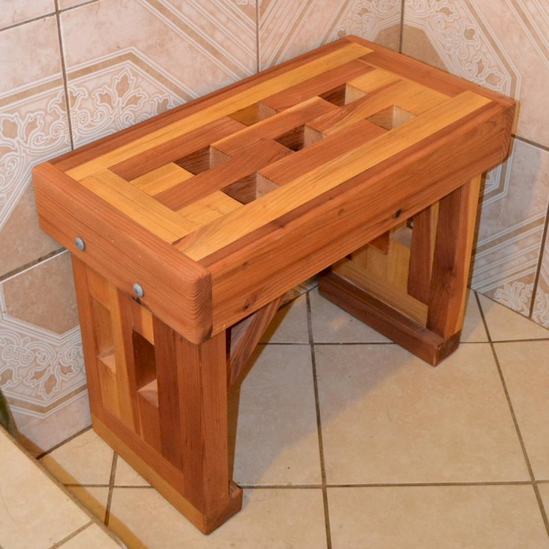 "Lighthouse Wooden Shower Bench (Options: 2 1/2 ft L x 12 1/2"" W x 18 1/2"" H, California Redwood, No Engraving, Transparent Premium Sealant)."