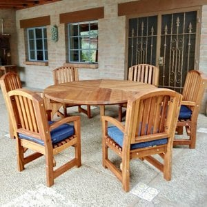 Lisa's Dining Table (Options: 5.5' Diameter, Chairs, Mature Redwood, with 6 Luna Armchairs, No Cushions, Standard Tabletop, No Lazy Susan, No Umbrella Hole, Transparent Premium Sealant). Photo Courtesy of T. Hoch of Tucson, Arizona.
