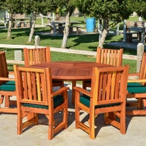 Lisa's Dining Table (Options: 5' Diameter, Chairs, Redwood, with 6 Ruth Armchairs with Forest Green Cushions, Standard Tabletop, No Lazy Susan, No Umbrella Hole, Transparent Premium Sealant).