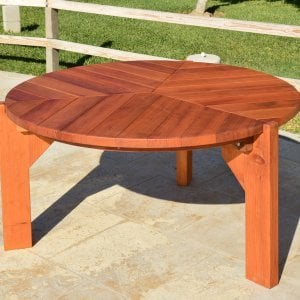 Lisa's Dining Table (Options: 5' Diameter, No Seating, Mature Redwood, Standard Tabletop, No Lazy Susan, No Umbrella Hole, Transparent Premium Sealant).