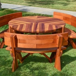 Lisa's Dining Table (Options: 5' Diameter, Redwood, Custom Fullback Arc Benches, Standard Tabletop, No Lazy Susan, Umbrella Hole, Transparent Premium Sealant).
