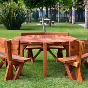 Lisa's Dining Table (Options: 5' Diameter, Custom Fullback Arc Benches, Redwood, Standard Tabletop, No Lazy Susan, Umbrella Hole, Transparent Premium Sealant).