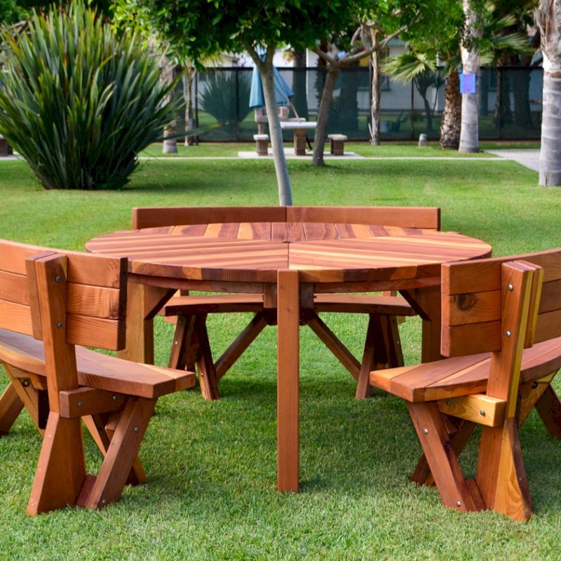 Lisa's Dining Table (Options: 5' Diameter, Custom Fullback Arc Benches, California Redwood, Standard Tabletop, No Lazy Susan, Umbrella Hole, Transparent Premium Sealant).