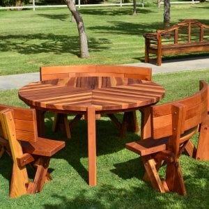 Lisa's Dining Table (Options: 5' Diameter, Custom Fullback Arc Benches, Redwood, Standard Tabletop, No Lazy Susan, Umbrella Hole, Transparent Premium Sealant). Photo also shows Lutyens Bench in background.
