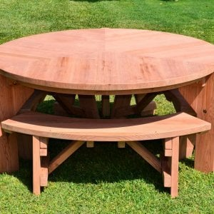 Lisa's Dining Table (Options: 5.5' Diameter, Benches, Redwood, 3 Benches, Arc Picnic Bench, Seamless Tabletop, No Lazy Susan, No Umbrella Hole, Unfinished).