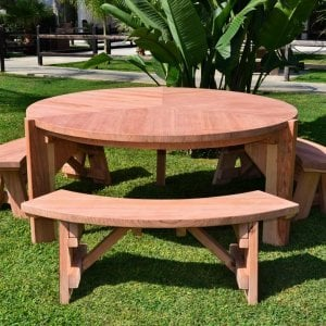 Lisa's Dining Table (Options: 5.5' Diameter, Benches, California Redwood, 3 Benches, Arc Picnic Bench, Seamless Tabletop, No Lazy Susan, No Umbrella Hole, Unfinished).