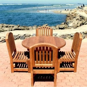 Luna Chairs with 4 ft Round Patio Table, Seamless Tabletop Design - Mature Redwood. Photo courtesy of the Estero Beach Resort in Ensenada, Baja California  Mexico.