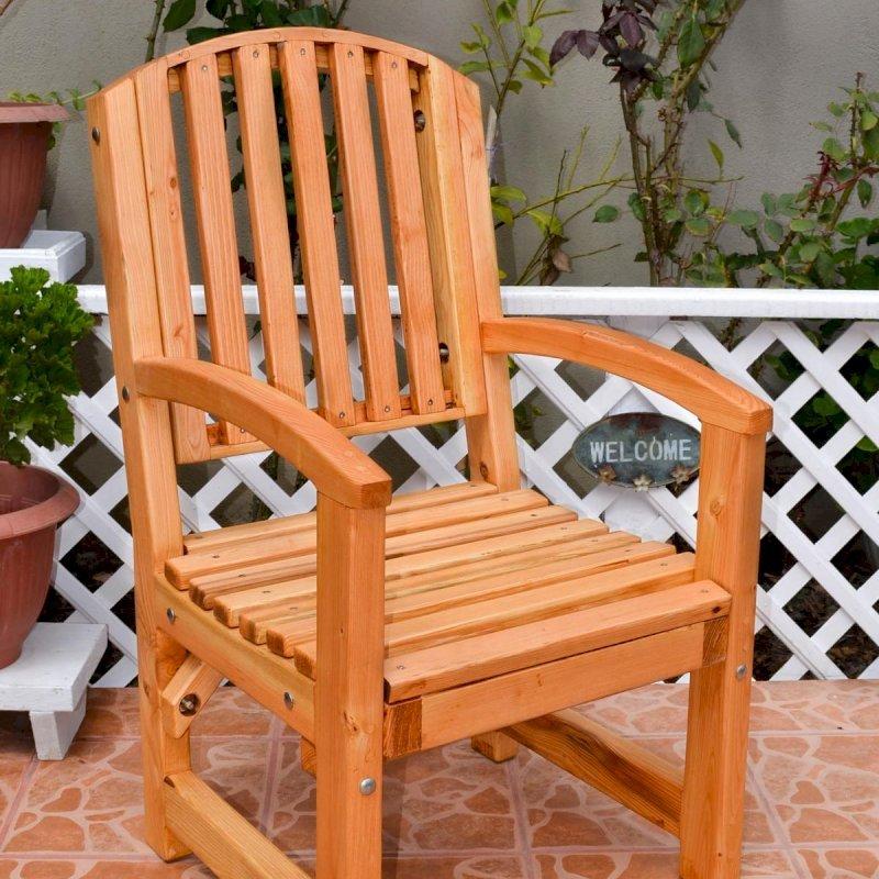 Luna Chair (Options: With Arms, Douglas-Fir, No Cushion, Transparent Premium Sealant).