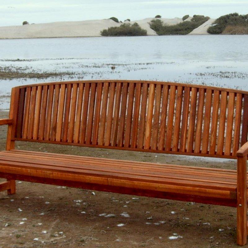 Luna Bench (Options: 8 ft, California Redwood, No Cushion, No Engraving, Transparent Premium Sealant).