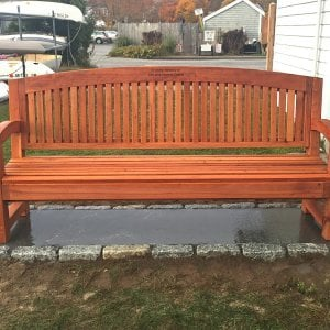 Luna Memorial Bench (Options: 6 ft, Old-Growth Redwood, No Cushion, Custom Engraving, Transparent Premium Sealant). Photo Courtesy of Bob C. of Marion, Massachusetts.