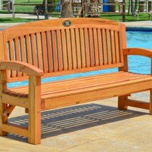 Luna Memorial Bench (Options: 5 ft, Douglas-fir, No Cushion, No Engraving, Custom Plaque Provided by Customer, Transparent Premium Sealant).