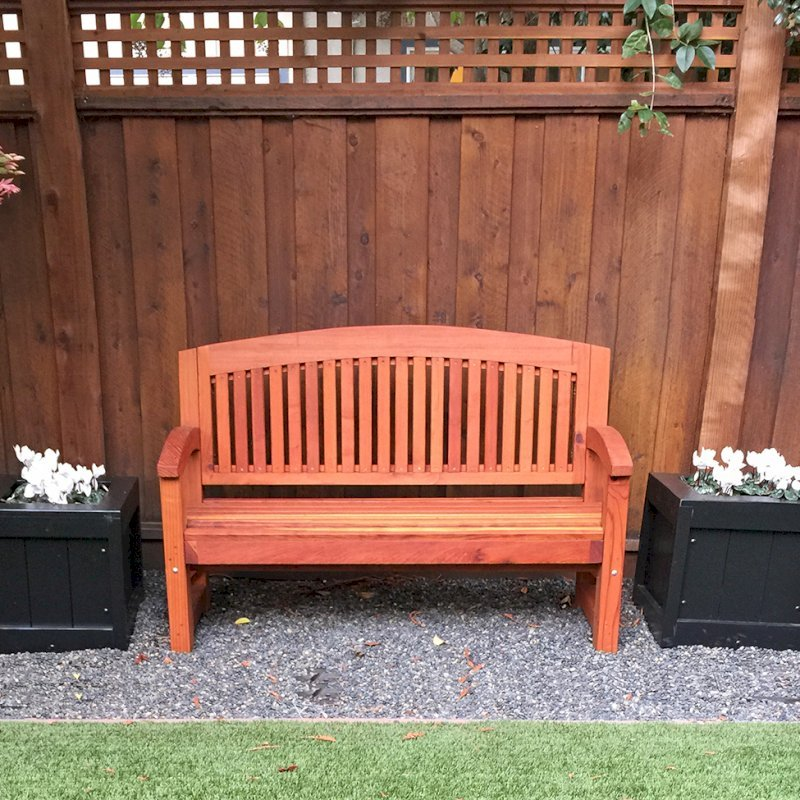 Luna Memorial Bench (Options: 5 ft, Redwood, No Cushion, No Engraving, Transparent Premium Sealant) with 2 Sonoma Planters. Photo Courtesy of Susan H. of Palo Alto, CA.