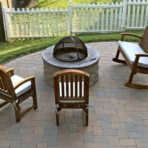 Luna Rocking Bench (Options: 4ft L, Tall, Mature Redwood, Custom Color Cushion, No Engraving, Transparent Premium Sealant). Photo Also Shows 2 Luna Chairs. Furniture was 2 years old when the photo was taken. Photo Courtesy of Martin Holbrook of Forest Hill, Maryland.