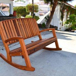 Luna Rocking Bench (Options: 7ft L, Deep, Mature Redwood, No Cushion, No Engraving, Transparent Premium Sealant).