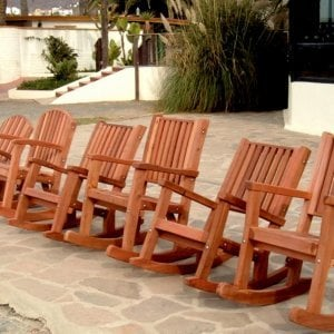 Comparing the Luna, Ruth, and Massive Deep and Tall Rocking Chairs - Mature Redwood with Transparent Premium Sealant.