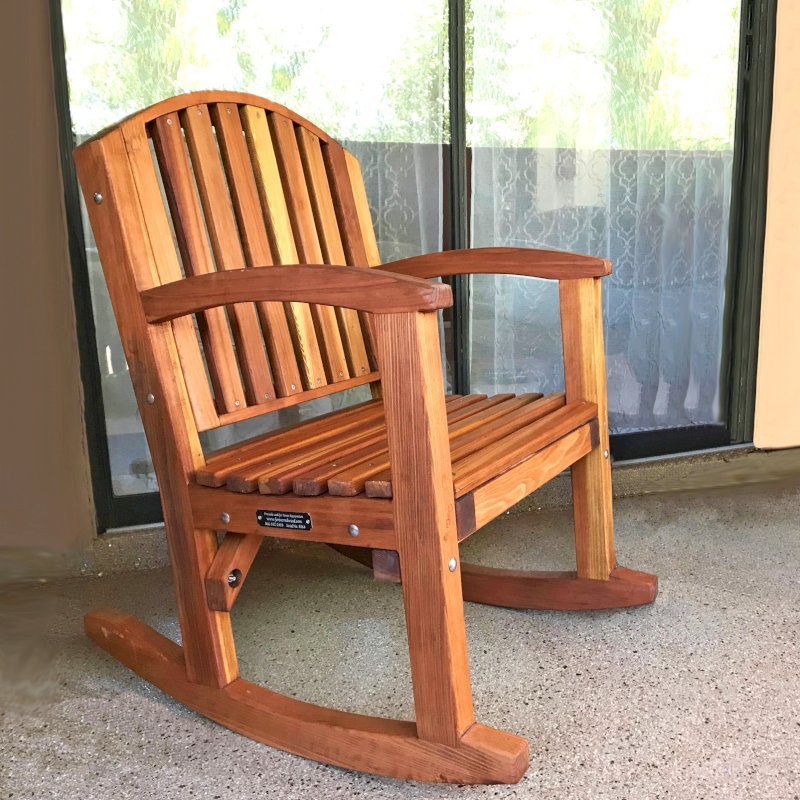 Luna Rocking Chair (Options: Standard Width, Tall, California Redwood, No Cushion, Transparent Premium Sealant). Photo Courtesy of L. Serkey of Tucson, AZ.