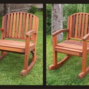 Comparison of XW with Regular Luna Tall Rocking Chair - Old-Growth Redwood.