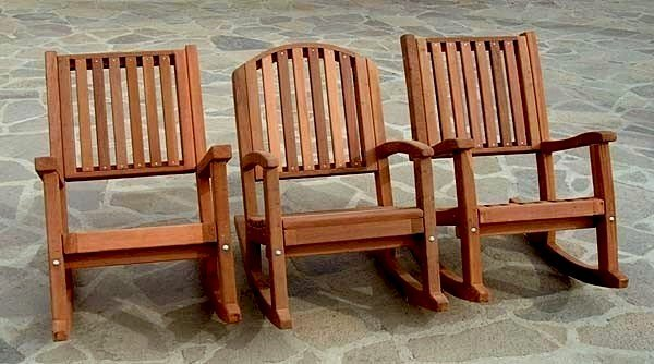 Design Comparisons Between Massive, Luna, and Ruth Deep Rocking Chair - Mature Redwood with Transparent Premium Sealant.