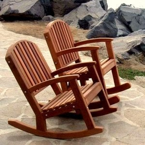 Luna Rocking Chairs - Options: Standard Size, Mature Redwood, No Cushion, Deep Style (left), Tall Style (right, rear), Transparent Premium Sealant.