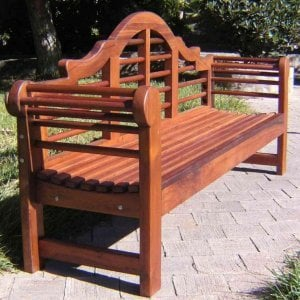 Lutyens Bench (Options: 6 ft, Old-Growth Redwood, No Cushion, No Engraving, Transparent Premium Sealant).