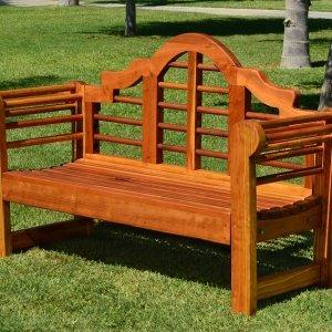 Lutyens Bench (Options: 4 ft, California Redwood, No Cushion, No Engraving, Transparent Premium Sealant).