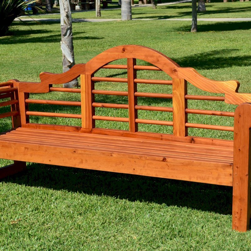 Lutyens Bench (Options: 6 ft, California Redwood, No Cushion, No Engraving, Transparent Premium Sealant).