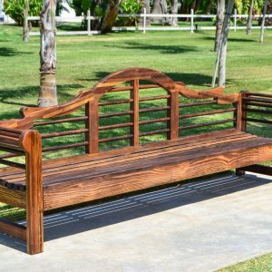 Lutyens Bench (Options: 8 ft, Mosaic Eco-Wood, No Cushion, No Engraving, Coffee Stain Premium Sealant).