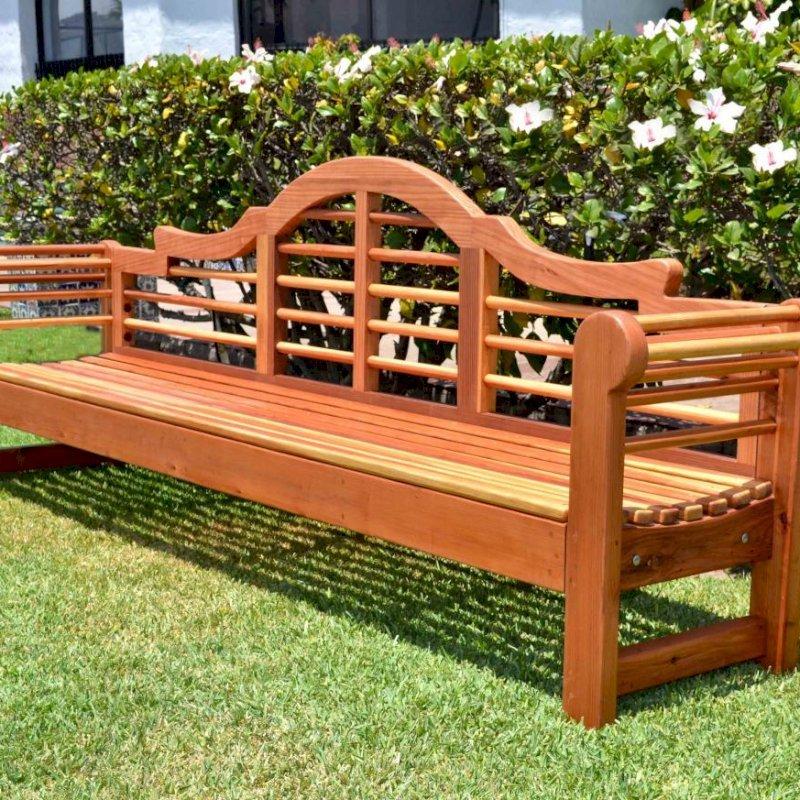 Lutyens Bench (Options: 8 ft, California Redwood, No Cushion, No Engraving, Transparent Premium Sealant).