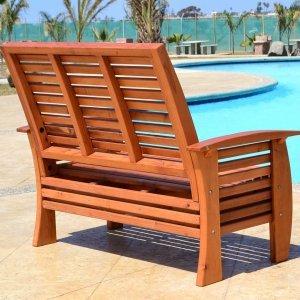 Marazul Loveseat (Options: Mature Redwood, No Cushion, Transparent Premium Sealant).