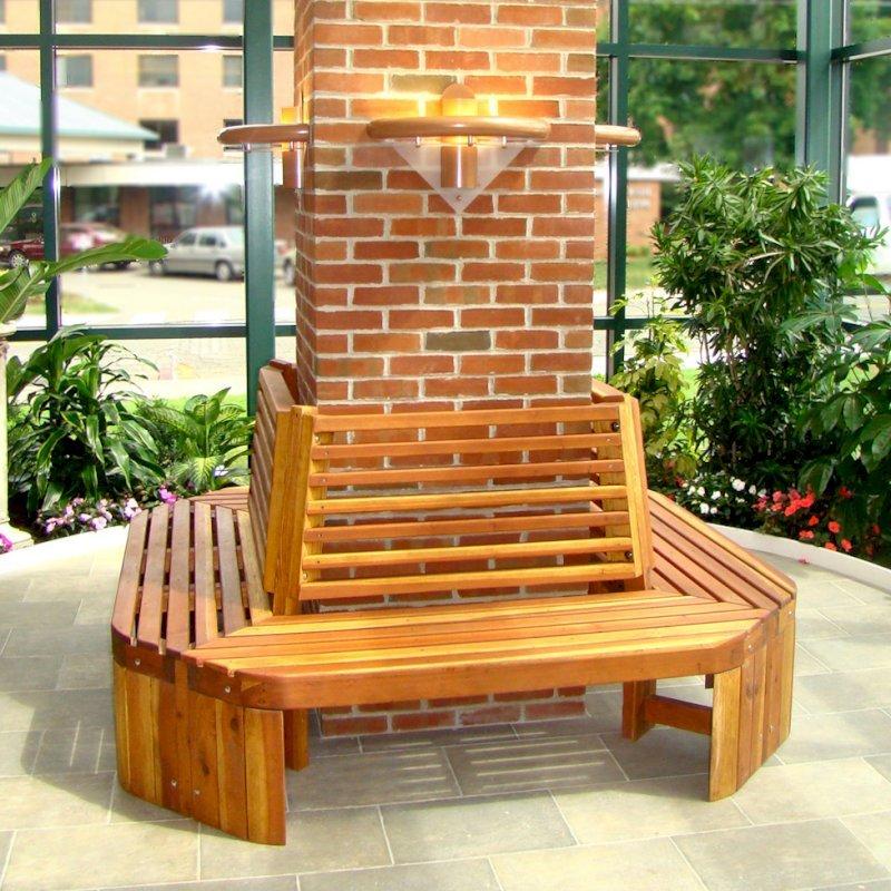Maria's Tree Bench (Options: 6 1/2', California Redwood, No Beverage Ledge, No Cushion, No Engraving, Transparent Premium Sealant). Photo Courtesy of ECHN Hospital, Manchester CT 06040.
