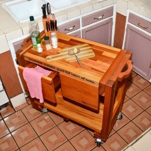 "Mary's Cook 'n' Carry Cart (Options: California Redwood, Compact Size, 36"" H, Custom Engraving, Add Handle on Both Sides, Transparent Premium Sealant)."