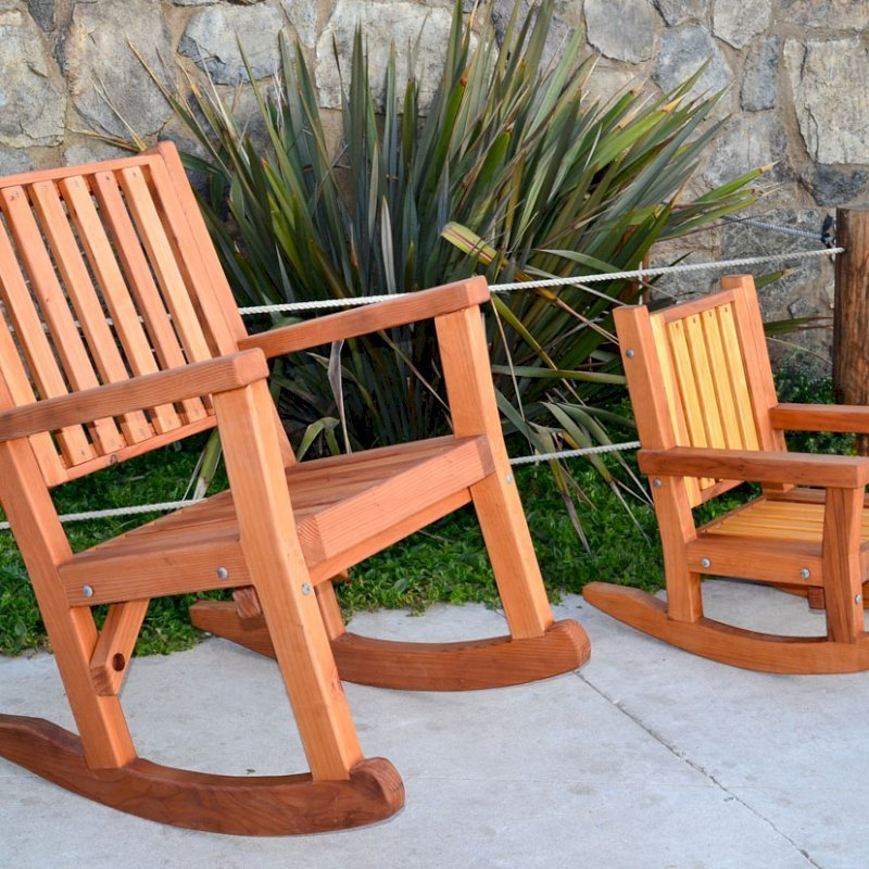 Massive Rocking Chair (Options: Standard Width, Tall, Mature Redwood, No Cushion, Transparent Premium Sealant). Photo Also Shows a Kid's Rocking Chair in California Redwood.