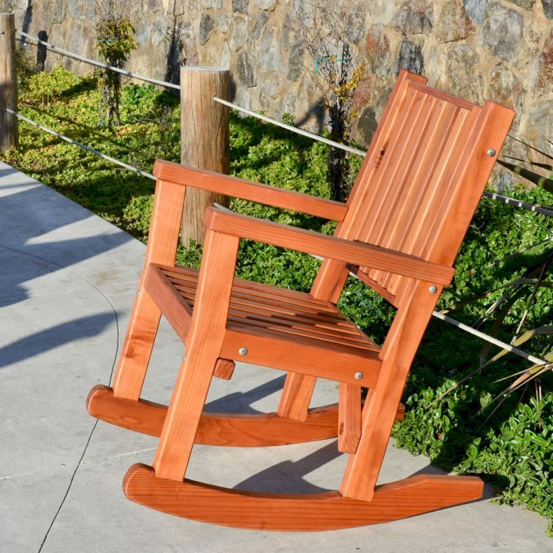Massive Rocking Chair (Options: Standard Width, Tall, Mature Redwood, No Cushion, Transparent Premium Sealant).