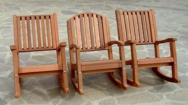 Design Comparison: Luna, Ruth and Massive Deep Rocking Chairs - Mature Redwood with Transparent Premium Sealant.