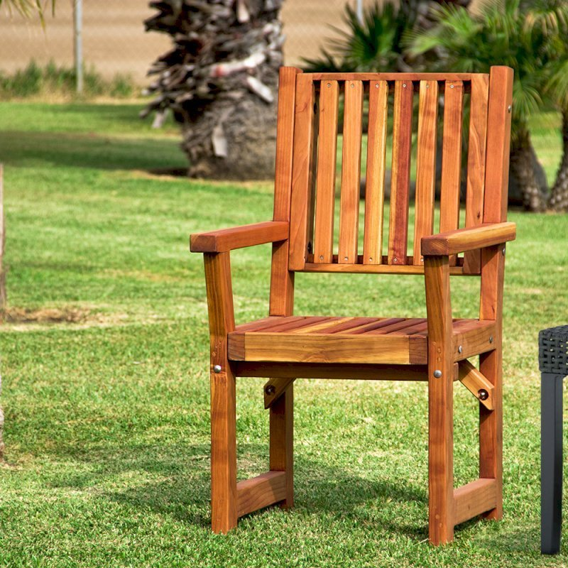 Massive Wooden Dining Chair (Options: With Arms, California Redwood, No Cushion, Transparent Premium Sealant).