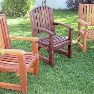 Comparing the Ruth, Luna, and Massive Armchairs - Left to right: Ruth in California Redwood, Luna in Old-Growth with Coffee Stain and Massive in Mature Redwood.