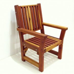 Massive Chair (Options: With Arms, California Redwood, No Cushion, Transparent Premium Sealant).
