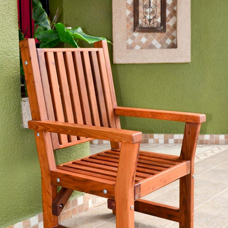 Massive Chair (Options: With Arms, Mature Redwood, No Cushion, Transparent Premium Sealant).