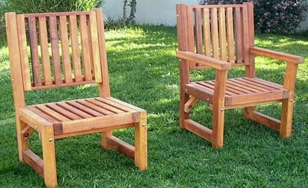 Massive Chairs (Options: No Arms [Left], With Arms [Right], California Redwood, No Cushion, Transparent Premium Sealant).