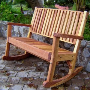 Massive Rocking Bench (Options:7ft L, Tall, Redwood,  No Cushion, No Engraving, Transparent Premium Sealant).