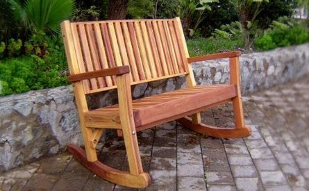 Massive Wooden Rocking Bench