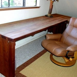"Maynard Desk (Options: 10' L, 34 ½"" W top, No Seating, Mature Redwood, Seamless Tabletop, Squared Corners, No Umbrella Hole, Coffee Stain). Photo Courtesy of Mr. Bill Burke of San Francisco, CA. Chair not included."